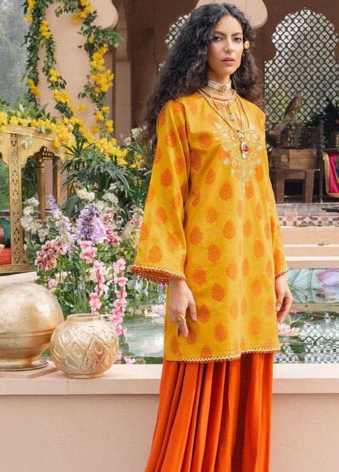 Orient Textile Embroidered Jacquard  Unstitched Kurties OTL-21-031 Mustard - Summer Collection