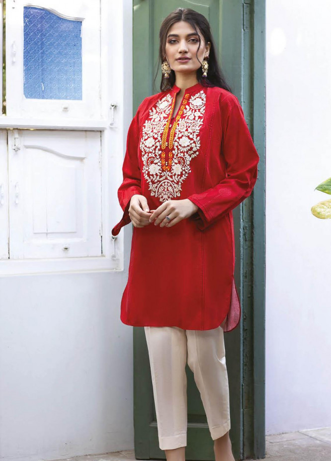 Orient Textile Embroidered Jacquard  Unstitched Kurties OTL-21-032 Red - Summer Collection