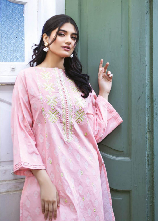 Orient Textile Embroidered Jacquard  Unstitched Kurties OTL-21-033 Pink - Summer Collection