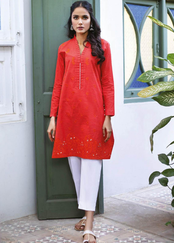 Orient Textile Embroidered Missouri  Unstitched Kurties OTL-21-035 Red - Summer Collection