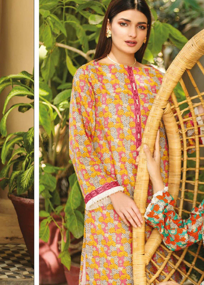 Orient Textile Printed Lawn  Unstitched Kurties OTL-21-038 Pink - Summer Collection