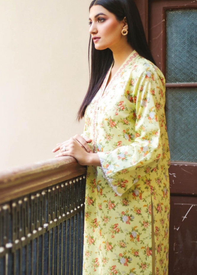 Orient Textile Printed Lawn  Unstitched Kurties OTL-21-039 Green - Summer Collection