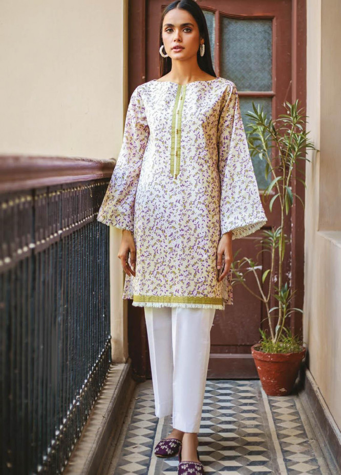 Orient Textile Printed Lawn  Unstitched Kurties OTL-21-040 Beige - Summer Collection