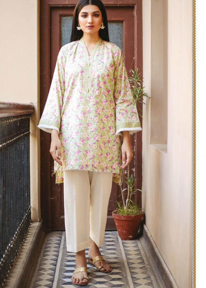 Orient Textile Printed Lawn  Unstitched Kurties OTL-21-041 Green - Summer Collection