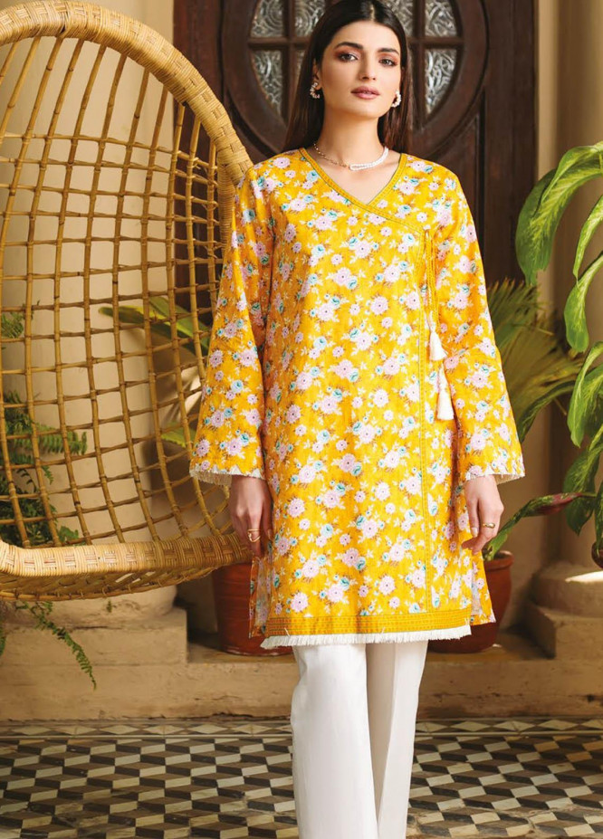 Orient Textile Printed Lawn  Unstitched Kurties OTL-21-041 Yellow - Summer Collection