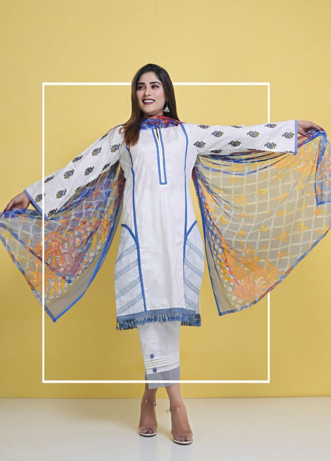 Halima Sultan Embroidered Lawn Suits Unstitched 3 Piece HS21-L3 01 Lily - Summer Collection
