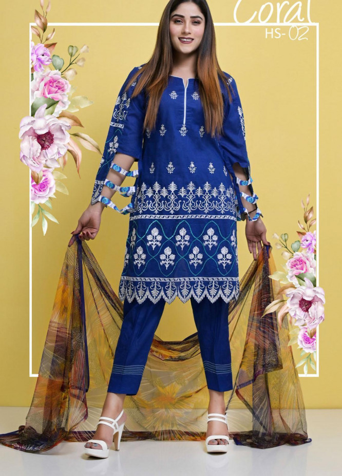 Halima Sultan Embroidered Lawn Suits Unstitched 3 Piece HS21-L3 02 Coral - Summer Collection