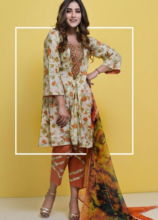 Halima Sultan Embroidered Lawn Suits Unstitched 3 Piece HS21-L3 05 Dahlia - Summer Collection