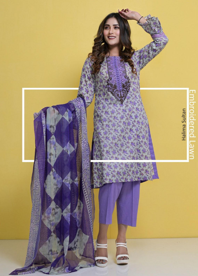 Halima Sultan Embroidered Lawn Suits Unstitched 3 Piece HS21-L3 06 Lavender - Summer Collection