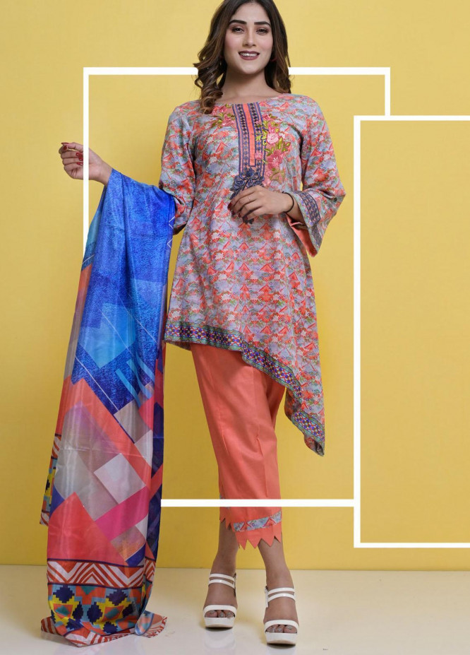 Halima Sultan Embroidered Lawn Suits Unstitched 3 Piece HS21-L3 07 Indigo - Summer Collection