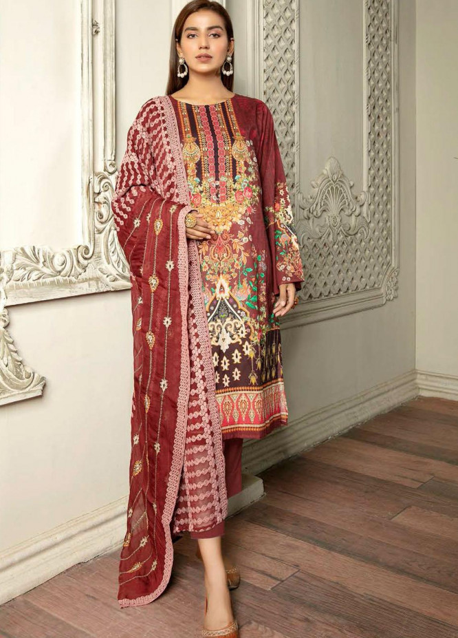 Hania by Zebaish Embroidered Lawn Suits Unstitched 3 Piece ZSH21HN D-02 - Summer Collection
