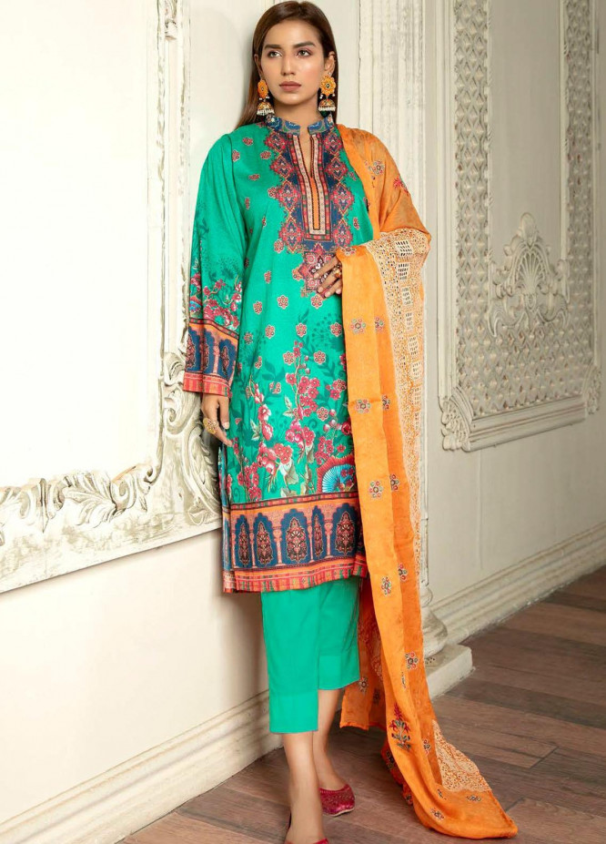 Hania by Zebaish Embroidered Lawn Suits Unstitched 3 Piece ZSH21HN D-08 - Summer Collection