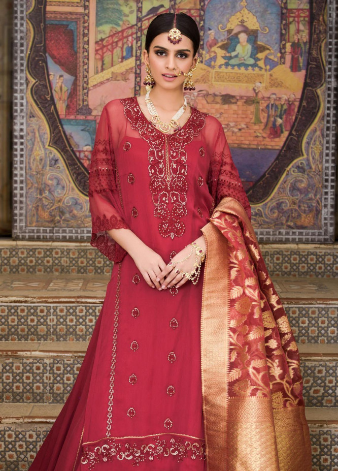 Honey Waqar by Regalia Textiles Embroidered Chiffon Unstitched 3 Piece Suit RGT20HW Gulab - Luxury Collection