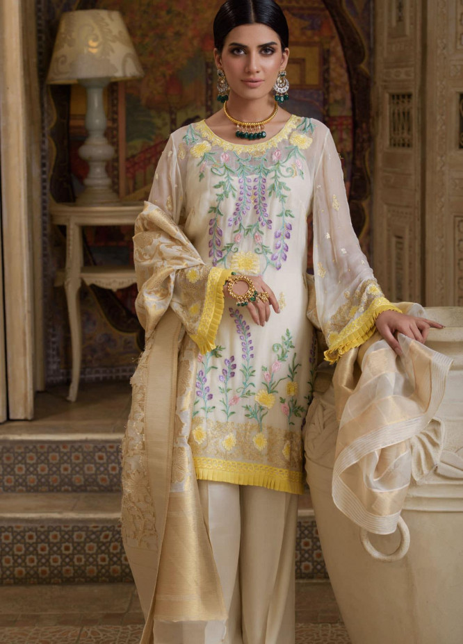 Honey Waqar by Regalia Textiles Embroidered Chiffon Unstitched 3 Piece Suit RGT20HW Bahar Bano - Luxury Collection