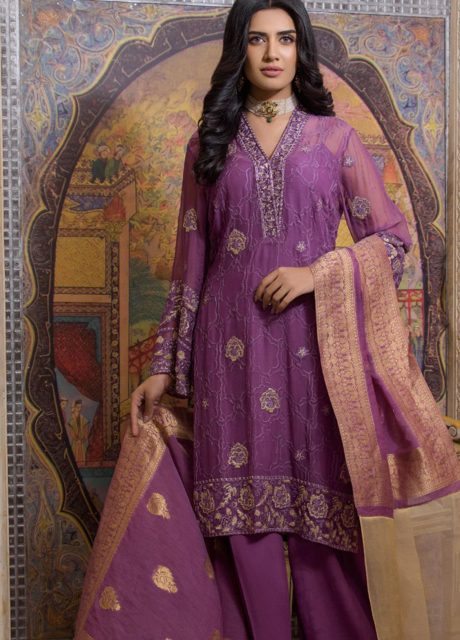 Honey Waqar by Regalia Textiles Embroidered Chiffon Unstitched 3 Piece Suit RGT20HW Noor-ul-Nisa - Luxury Collection