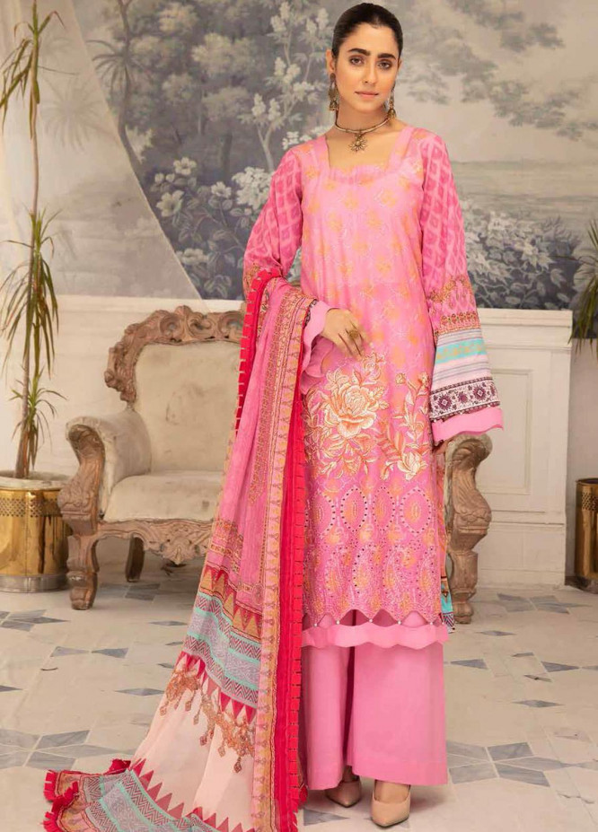 Hoor by Riaz Arts Embroidered Lawn Suits Unstitched 3 Piece RA21H DH-21 - Summer Collection