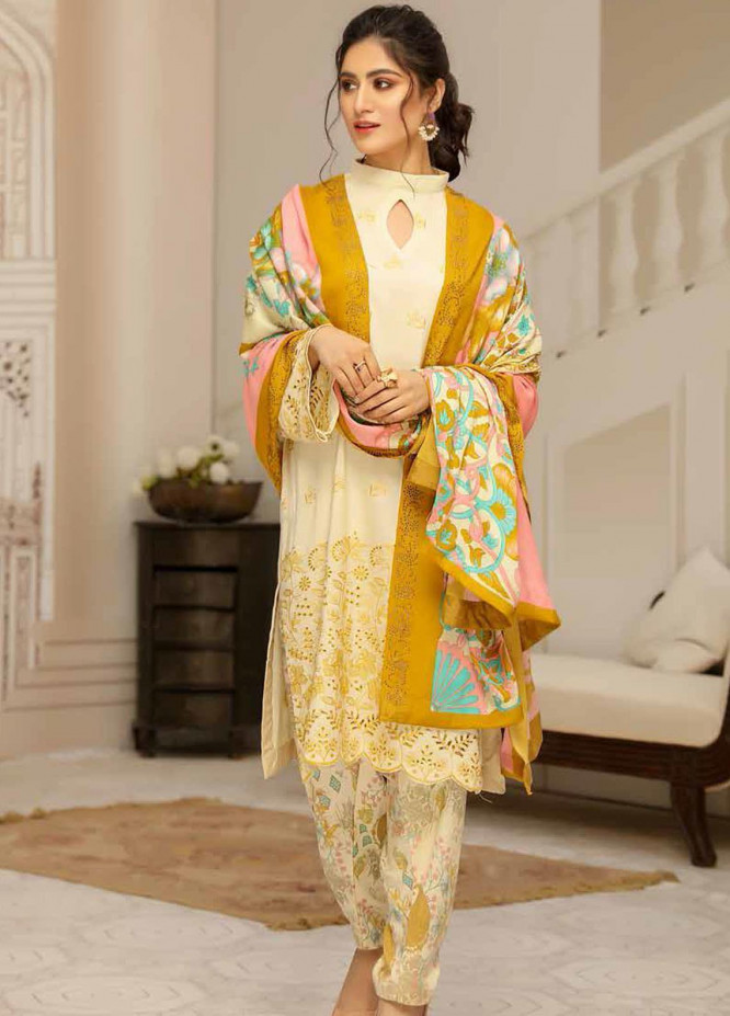 Hoor by Riaz Arts Embroidered Leather Peach Unstitched 3 Piece Suit RA20LP 38 - Winter Collection
