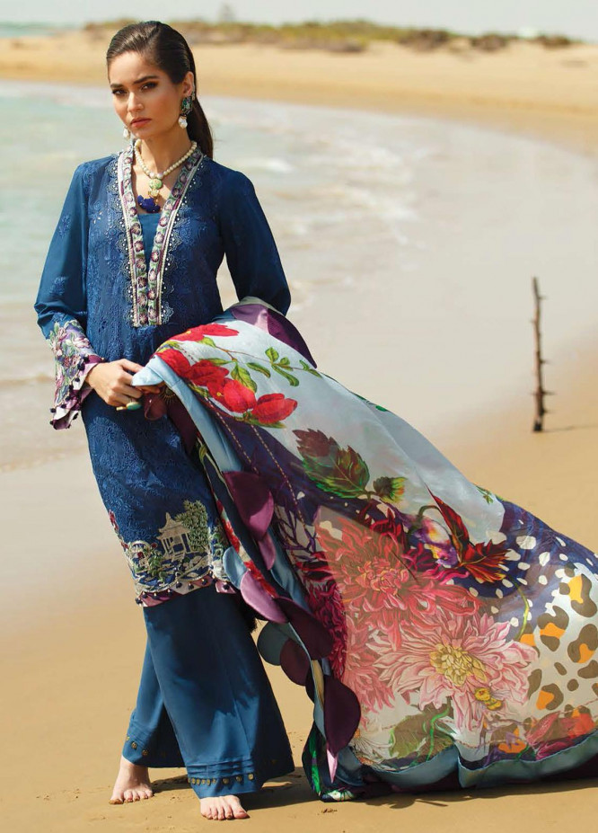 ILAHA Embroidered Lawn Suits Unstitched 3 Piece ILH21L IL002-Mavi Gul - Luxury Collection