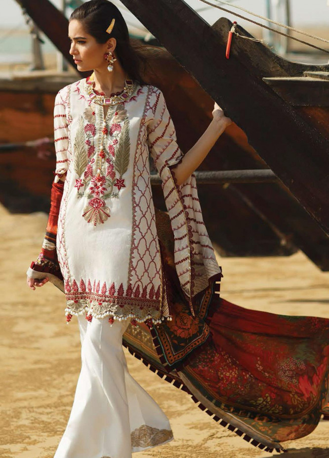 ILAHA Embroidered Lawn Suits Unstitched 3 Piece ILH21L IL003-Yakut - Luxury Collection