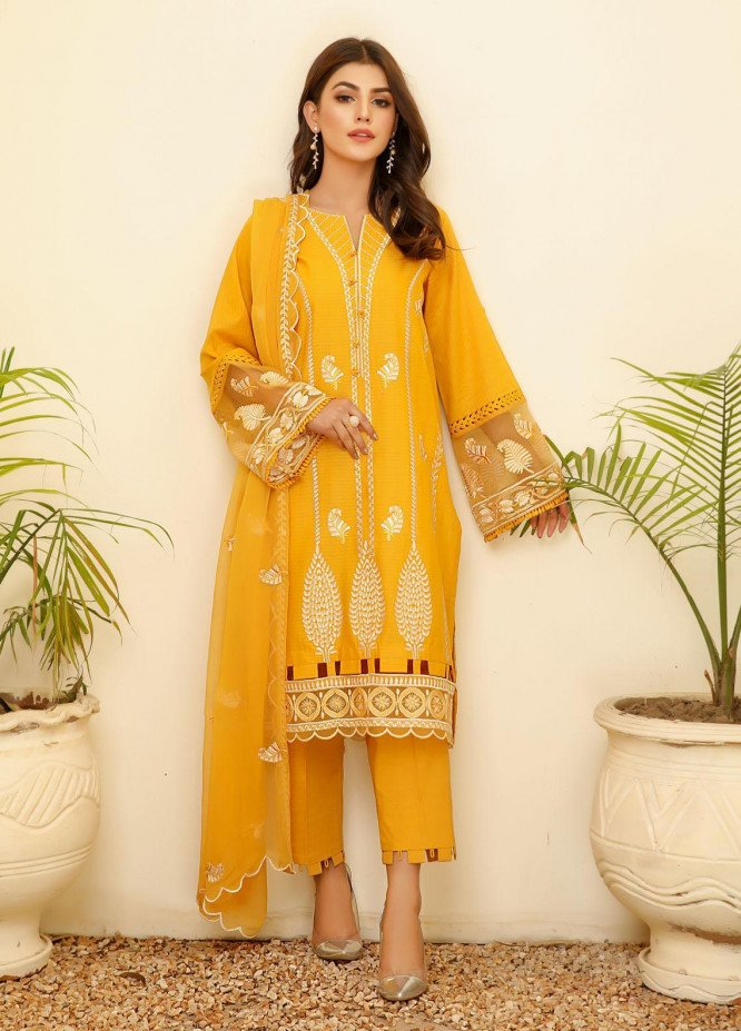 ILAHA Embroidered Lawn Stitched 3 Piece Suit ILH21PF 02 Emel