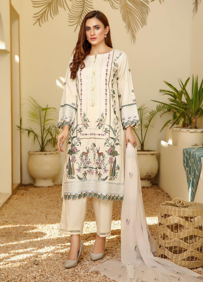 ILAHA Embroidered Lawn Stitched 3 Piece Suit ILH21PF 04 Tanaz