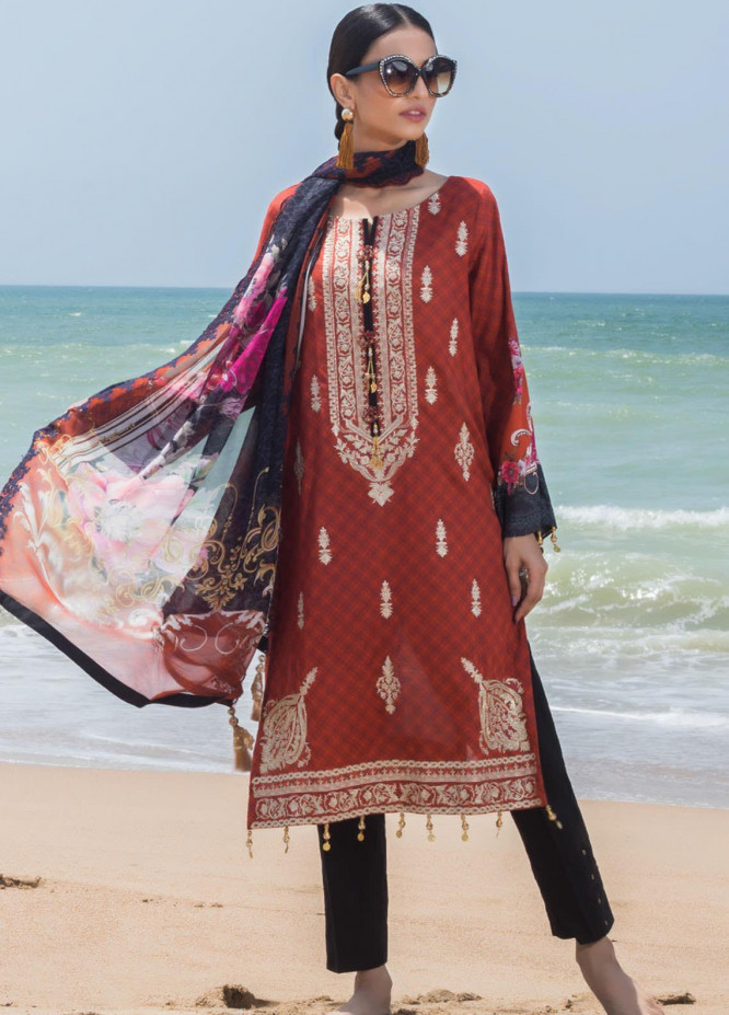 Regalia Textiles Embroidered Lawn Suits Unstitched 3 Piece RG21IN D-06 - Summer Collection