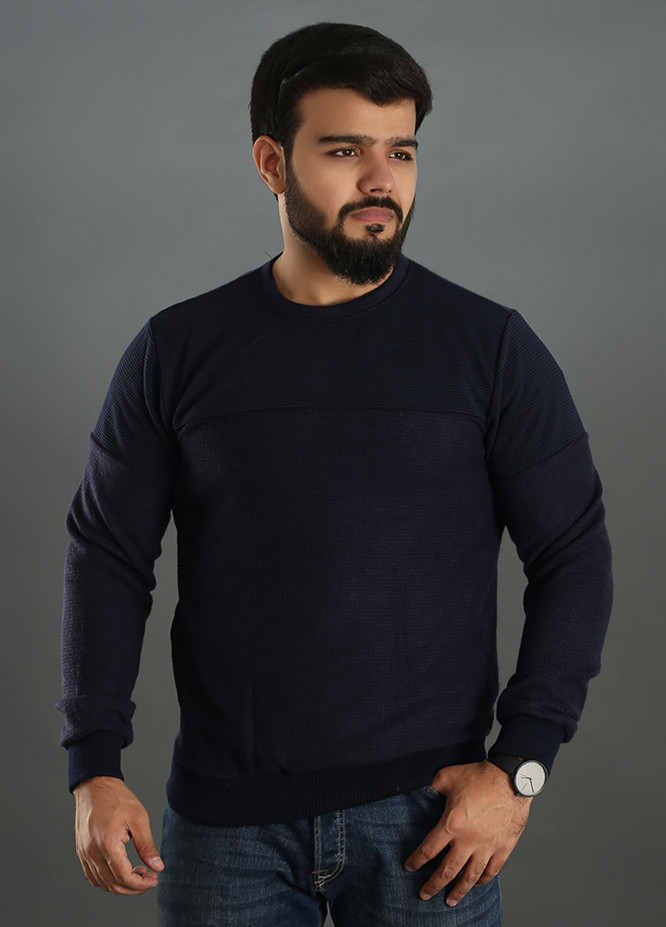 Sanaulla Exclusive Range Jersey Round Neck T-Shirts for Men - Navy Blue SAM18TS 09