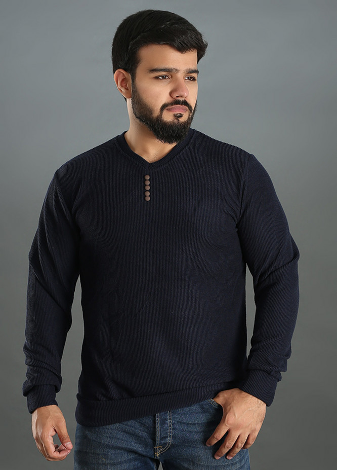 Sanaulla Exclusive Range Jersey V-Neck Men T-Shirts - Navy Blue SAM18TS 12