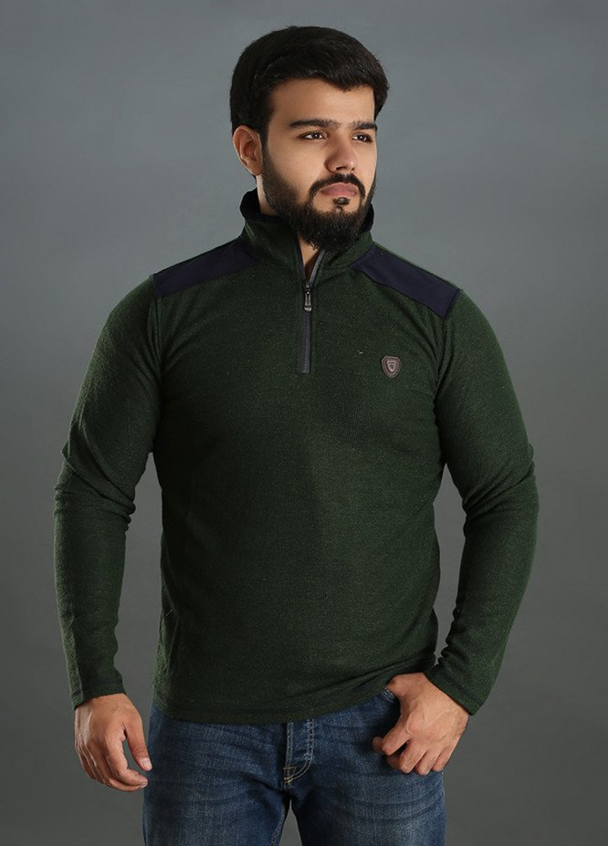 Sanaulla Exclusive Range Jersey Full Sleeves Men Tees - Green SAM18TS 14