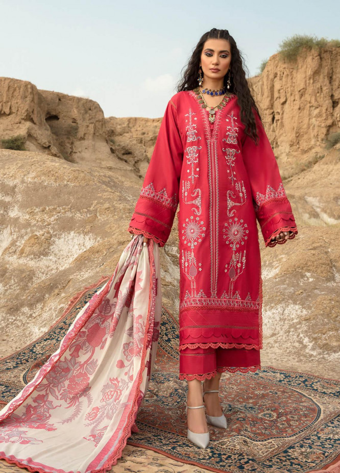 Ittehad Textiles Embroidered Cotton Satin Suits Unstitched 3 Piece IT21WP 12 KIRAZ - Winter Collection