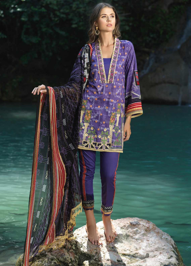 Ittehad Textiles Embroidered Lawn Unstitched 3 Piece Suit ITD20DG FRENCH FLOWERS - Summer Collection