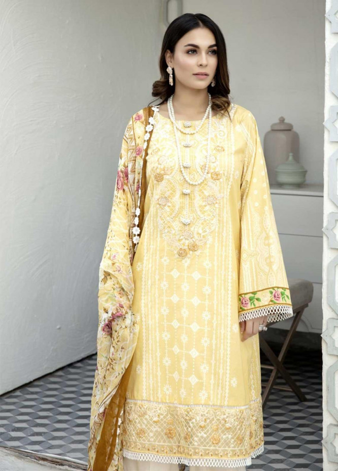 Ittehad Textiles Embroidered Lawn Suits Unstitched 3 Piece IT21EL ITE-CARAMELO - Summer Collection