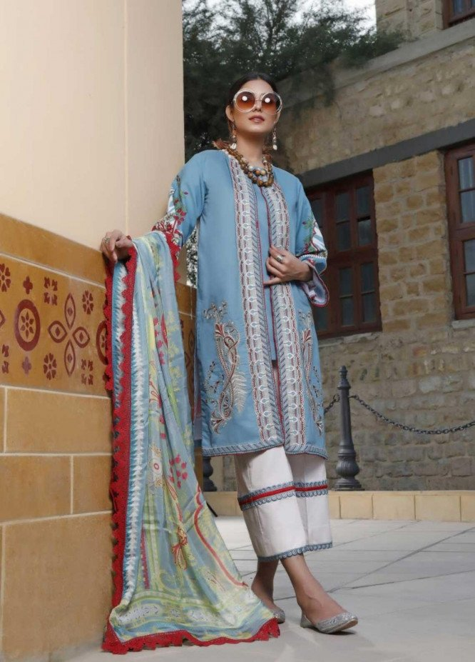 Ittehad Textiles Embroidered Lawn Suits Unstitched 3 Piece IT21EL ITE-CIELO - Summer Collection