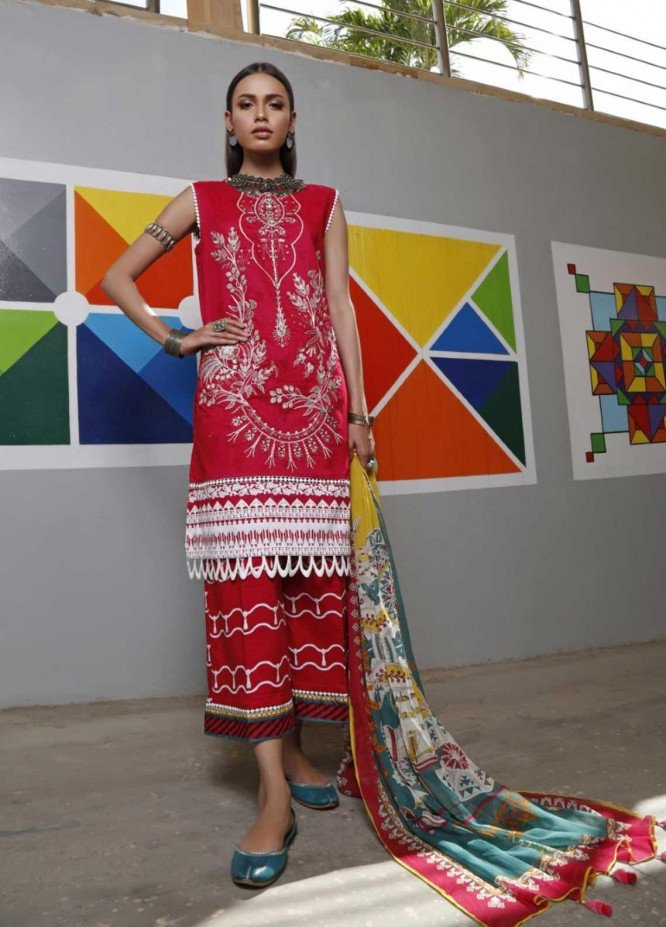 Ittehad Textiles Embroidered Lawn Suits Unstitched 3 Piece IT21EL ITE-ROJA - Summer Collection