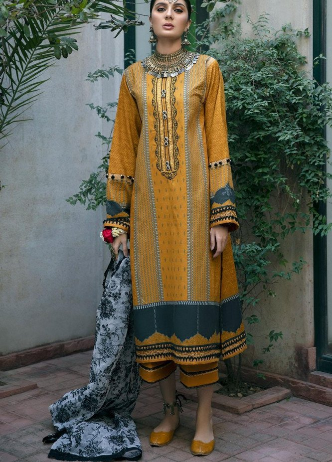 Ittehad Textiles Embroidered Lawn Suits Unstitched 3 Piece ITD21SS MOUTARDE - Spring / Summer Collection