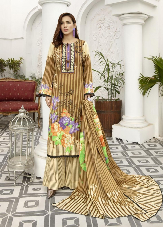 Jhalak by Ittehad Textiles Printed Lawn Suits Unstitched 3 Piece ITD21J 21207B - Summer Collection