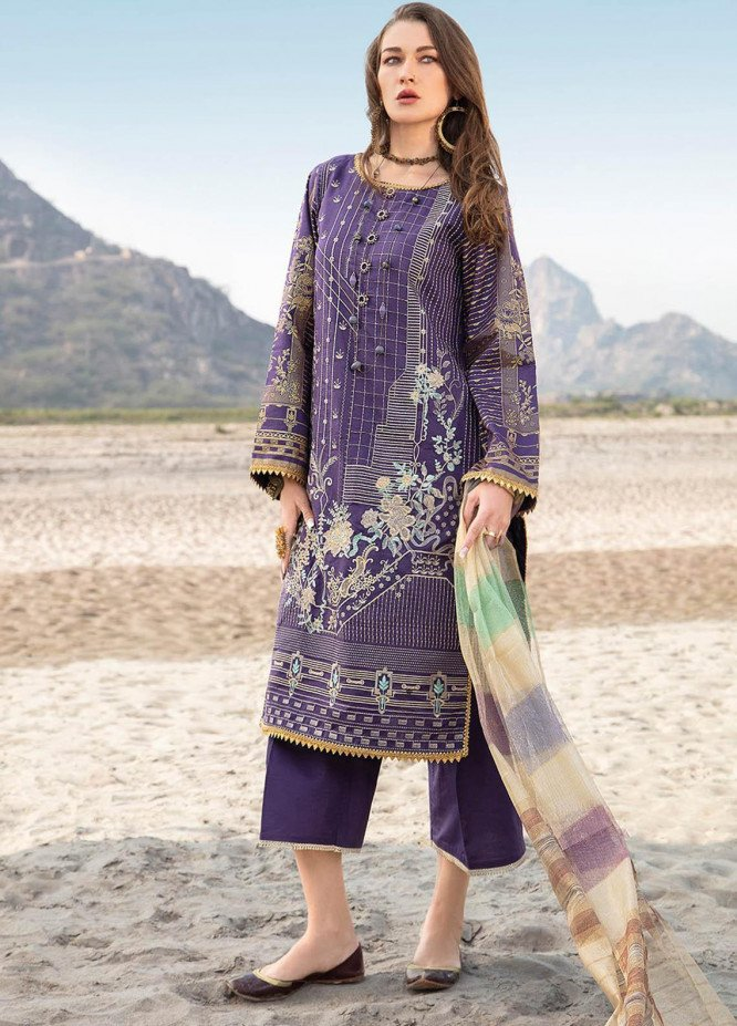 Ittehad Textiles Embroidered Lawn Suits Unstitched 3 Piece IT21PS PRE-PENILLION - Premium Summer Collection