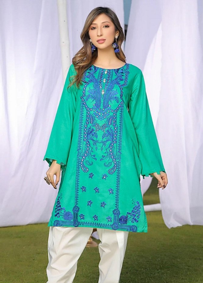 Ittehad Textiles Embroidered Lawn Stitched Kurties DL-SM21-77 Green