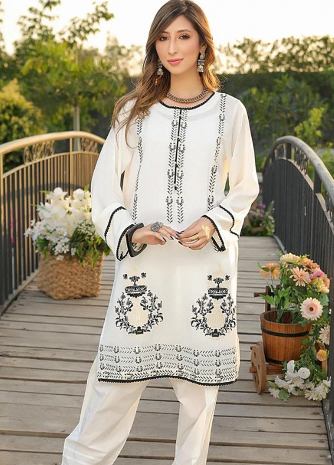 Ittehad Textiles Embroidered Viscose Stitched Kurties VC-SM21-84 White