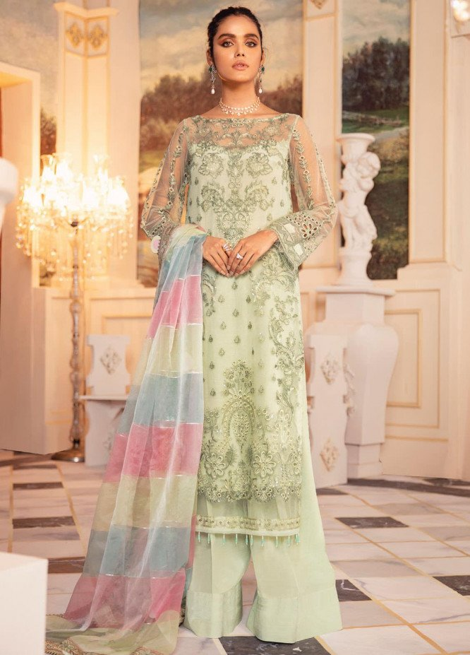 Falaknuma by Iznik Embroidered Net Unstitched 3 Piece Suit IZ20FW 02 Meltem - Wedding Collection