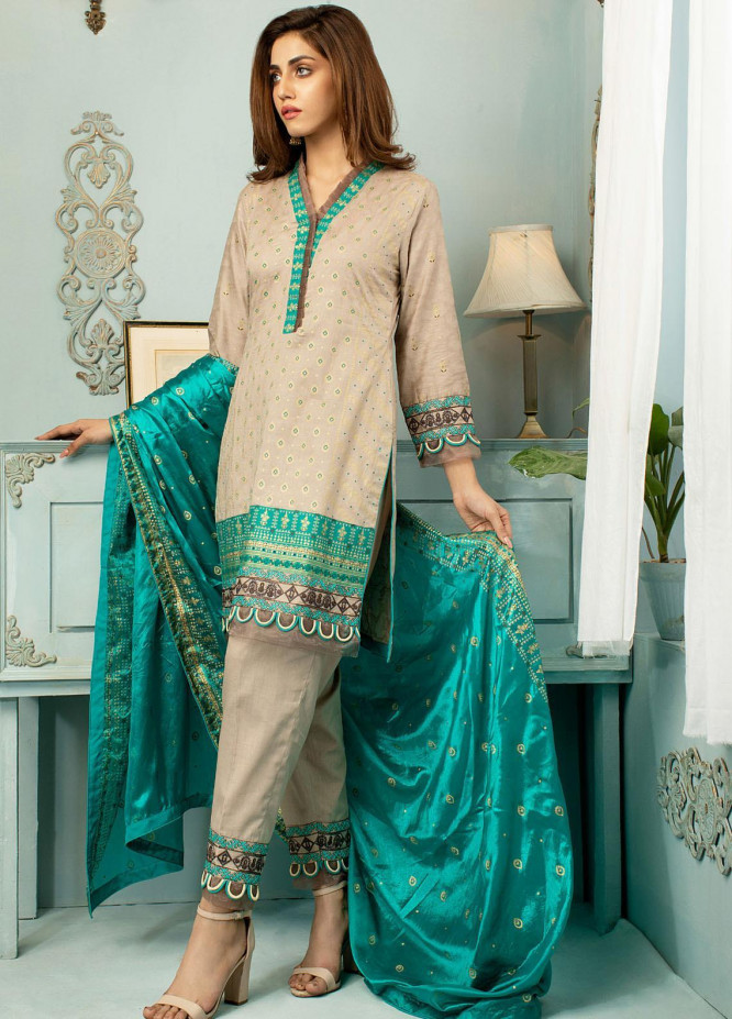 Jahan Casuals by AB Textiles Embroidered Lawn Suits Unstitched 3 Piece AB21JCL JC2-05 Sarcelle - Summer Collection