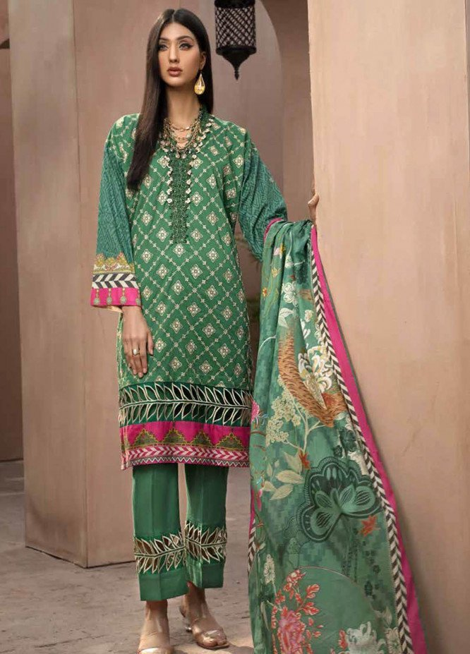 Jahanara Embroidered Lawn Suits Unstitched 3 Piece JN21SS 04 - Luxury Collection