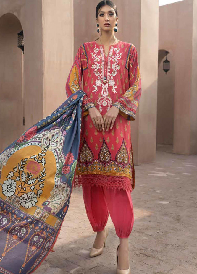 Jahanara Embroidered Lawn Suits Unstitched 3 Piece JN21SS 05 - Luxury Collection