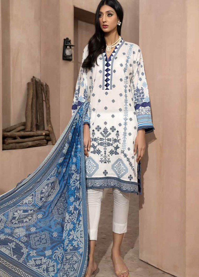 Jahanara Embroidered Lawn Suits Unstitched 3 Piece JN21SS 07 - Luxury Collection