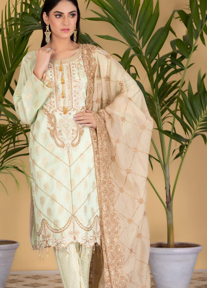 Jaipur By ZS Textiles Embroidered Jacquard Unstitched 3 Piece Suit ZS21J 01 - Luxury Collection