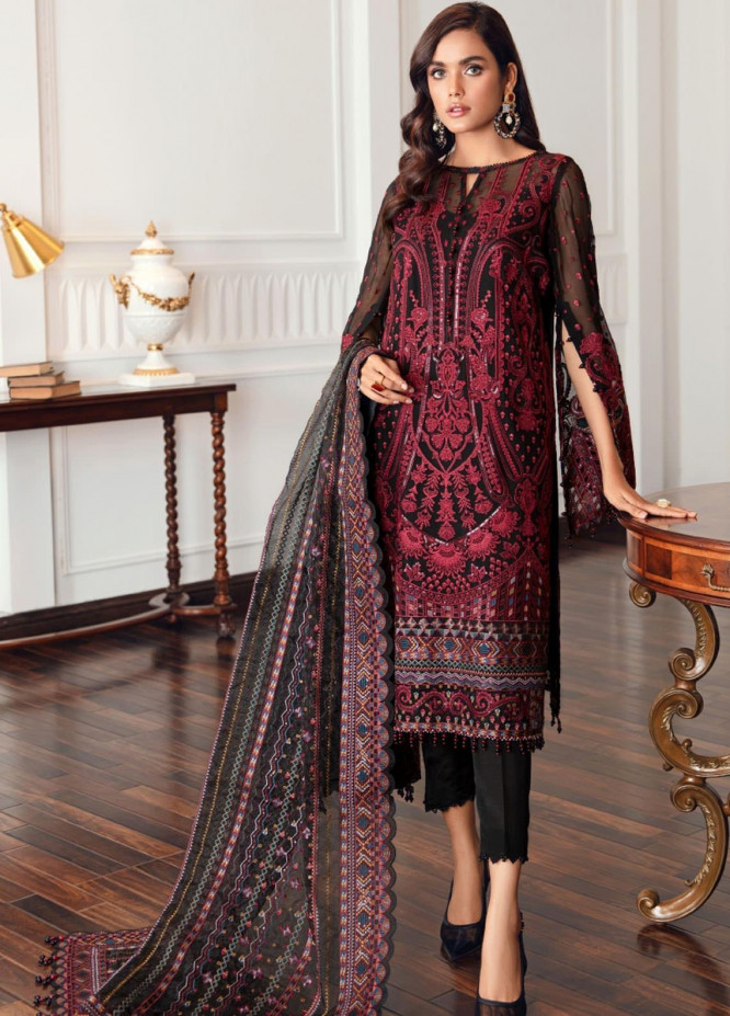 Jazmin Embroidered Chiffon Suits Unstitched 3 Piece JZ21EC 08-BLACK ROCOCO - Festive Collection