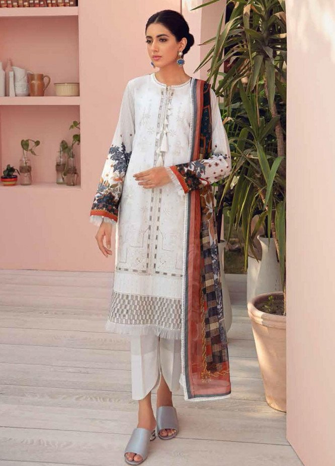 Jazmin Embroidered Lawn Suits Unstitched 3 Piece JZ21IL 03-DOVE WHITE - Summer Collection