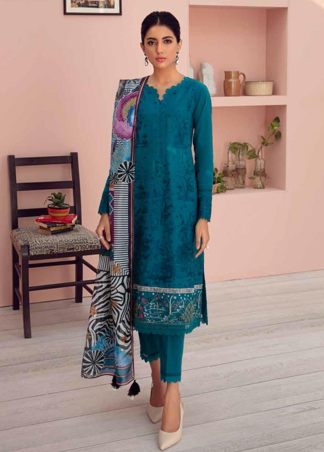 Jazmin Embroidered Lawn Suits Unstitched 3 Piece JZ21IL 04-NIAGRA - Summer Collection