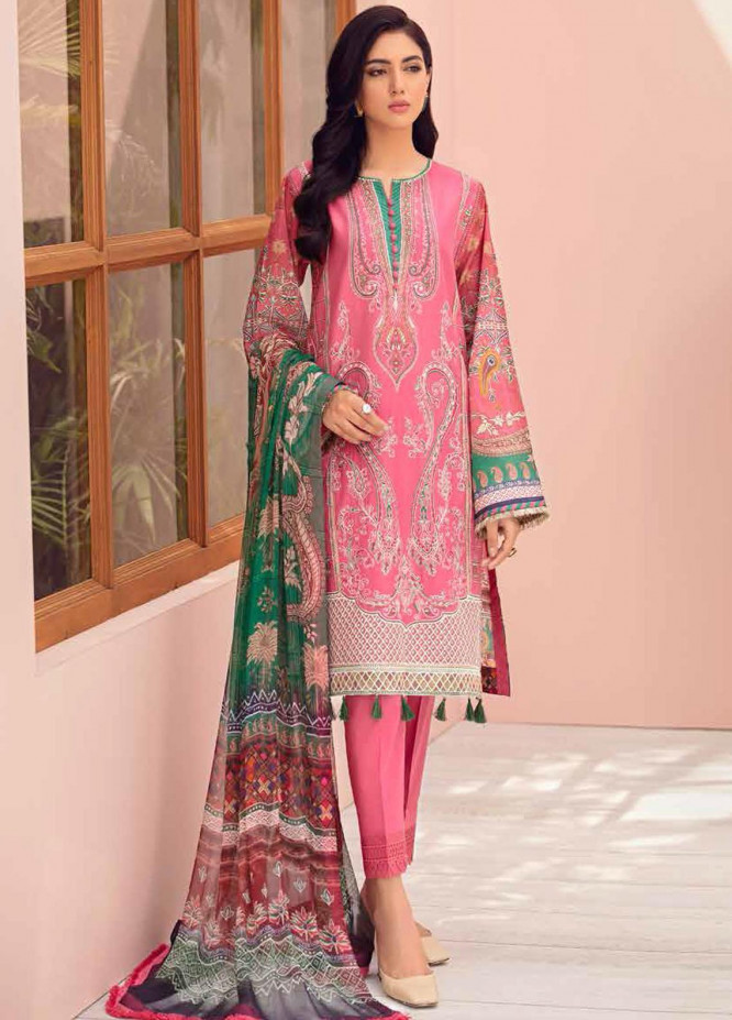 Jazmin Embroidered Lawn Suits Unstitched 3 Piece JZ21IL 05-PINK STORY - Summer Collection
