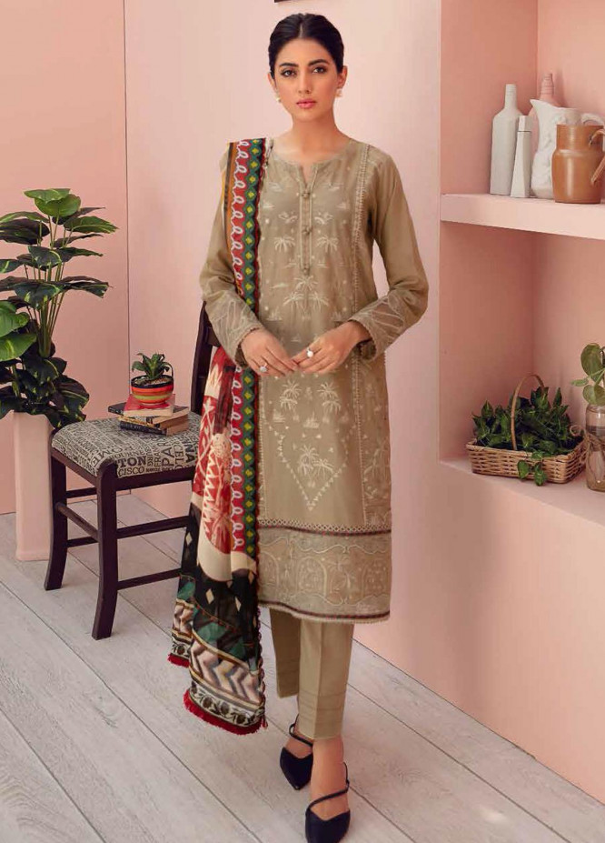 Jazmin Embroidered Lawn Suits Unstitched 3 Piece JZ21IL 06-CAMEL BEIGE - Summer Collection